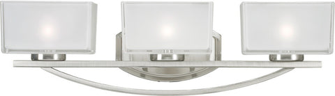 Z-Lite 3004-3V 3 Light Vanity Light Cardine Collection Frosted White Inside and Clear Outside Glass Finish - ZLiteStore
