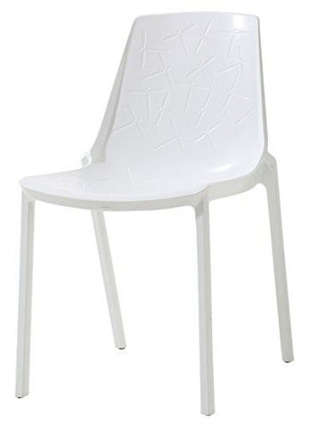 Mochi Furniture Polypropylene Armless Accent / Dining Chair - White (Set of 4)