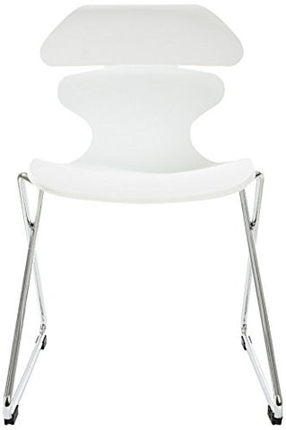 Mochi Furniture Modern Polypropylene Armless Accent Chair - White