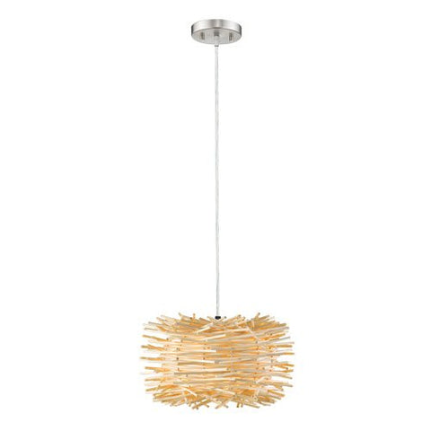 1-Light Contemporary Pendant with Natural Willow Shade