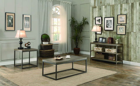 Homelegance 3224N-04 Daria Collection Color Metal Frame With Grey Weathered Wood - Peazz.com - 1