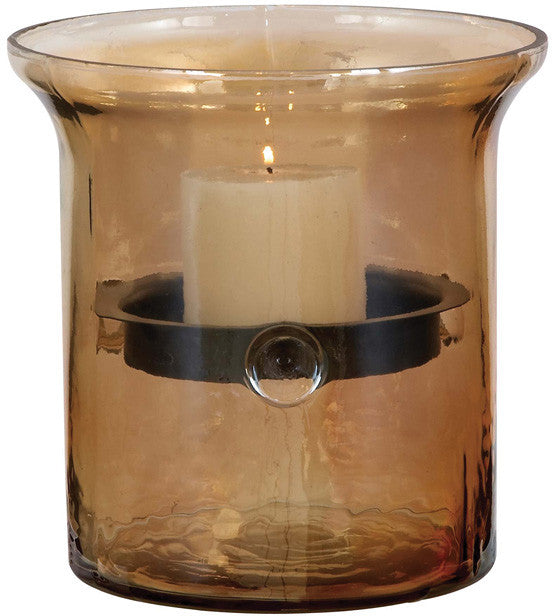 Benzara 34686 Glass Metal Candle Holder With Smoky Glass Outer Case