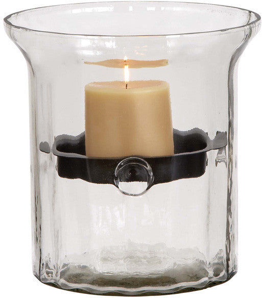Benzara 34688 Glass Metal Candle Holder Clear Glass Case
