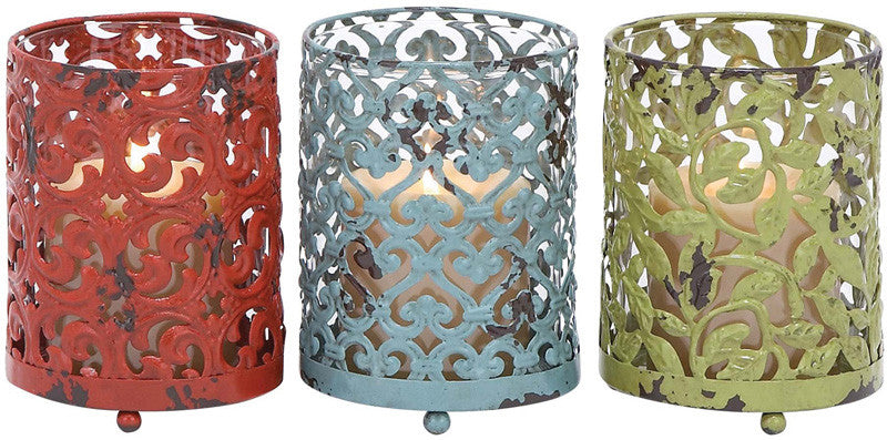 Benzara 34894 Candle Holder With Long Lasting Construction - Set Of 3