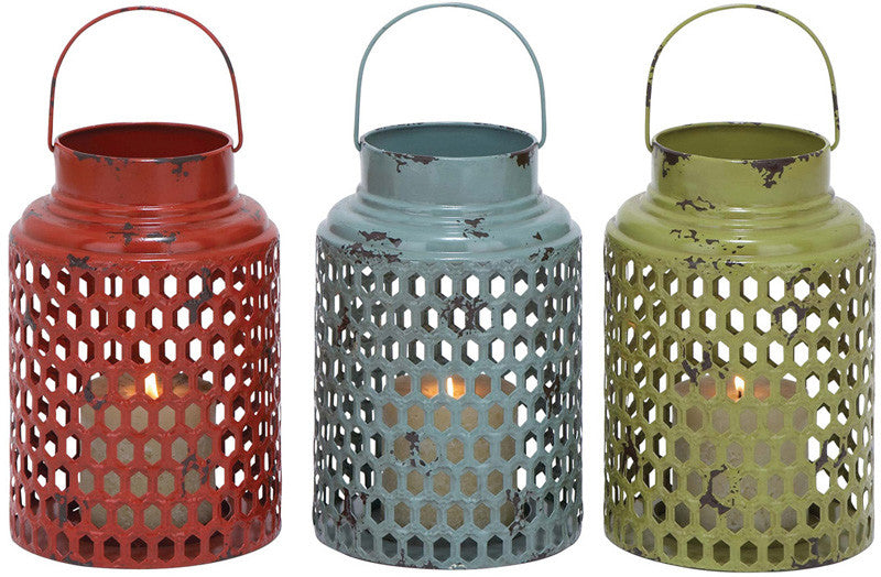 Benzara 34902 Metal Candle Holder 3 Assorted With Lantern Design