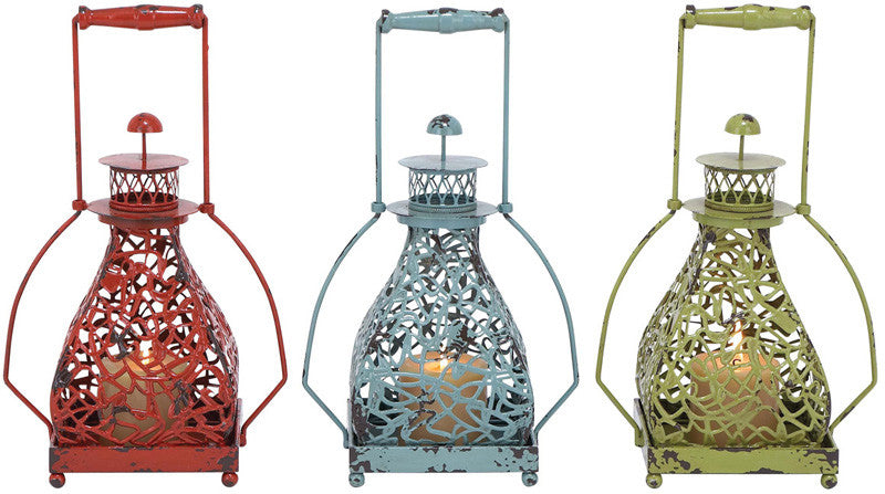 Benzara 34903 Metal Candle Holder 3 Assorted With Vibrant Colors