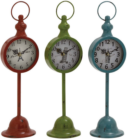 Benzara 34951 The Statuesque Metal Table Clock 3 Assorted