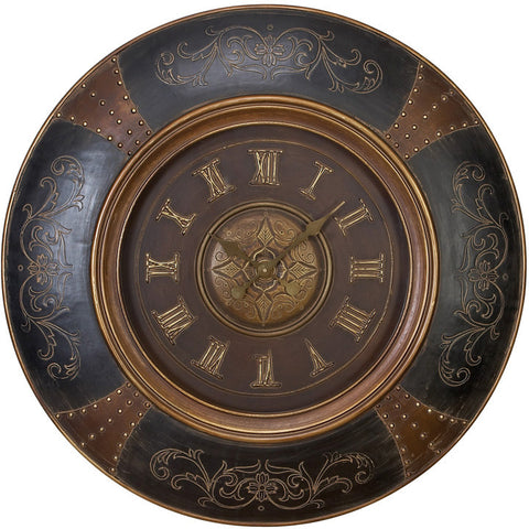 Benzara 35017 Wood Leather Wall Clock With Royal Look
