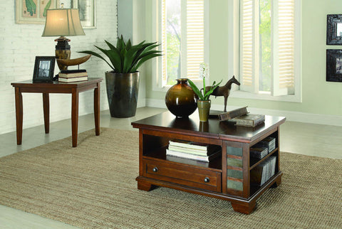 Homelegance 3523-30 Barnett Collection Color Stone Inlay / Warm Cherry - Peazz.com - 1