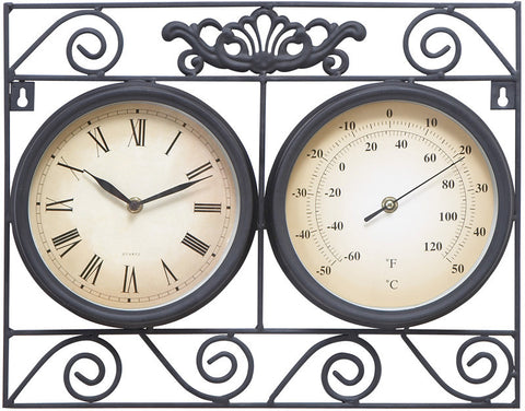 Benzara 35417 Metal Outdoor Clock Thermometer With Different Dials