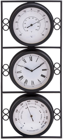 Benzara 35418 Contemporary Metal Clock With Two Thermometer & Minimal Style