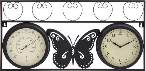 Benzara 35420 Sophisticated Metal Clock Thermometer With Stylish Look