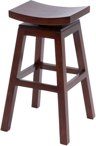 Benzara 37803 Wooden Barstool With Solid Wooden Legs In Dark Finish