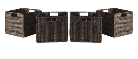 Winsome Wood 38409 Granville Foldable 4-pc Small Corn Husk Baskets, Chocolate - Peazz.com - 1