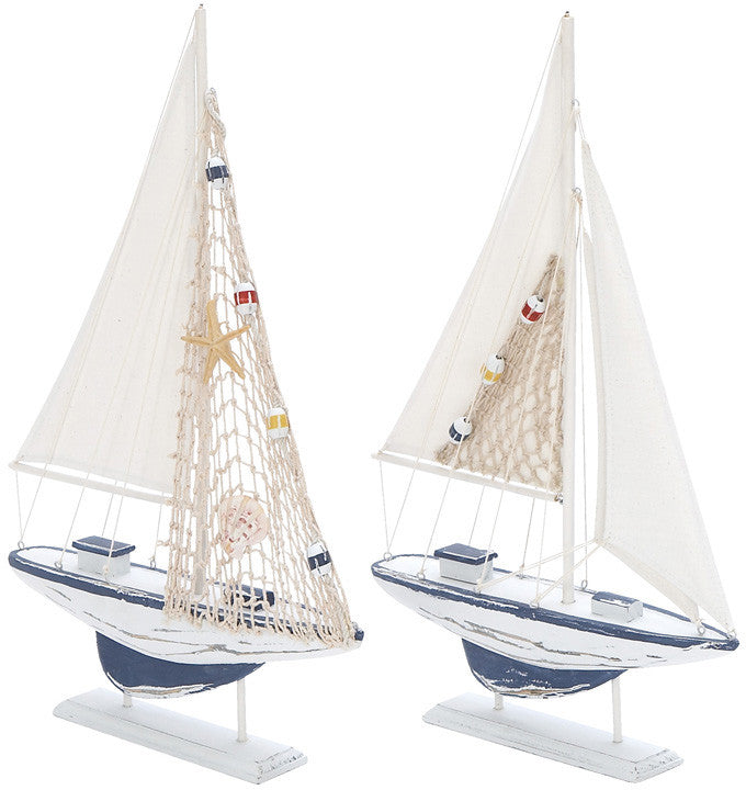 Benzara 38728 Wooden Sailing Boat with Assorted Carved Edges - Set of 2
