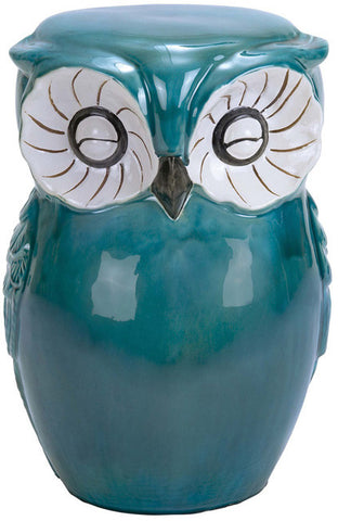 Benzara 38872 Long Lasting Ceramic Owl Shaped Stool With Sturdy Construction