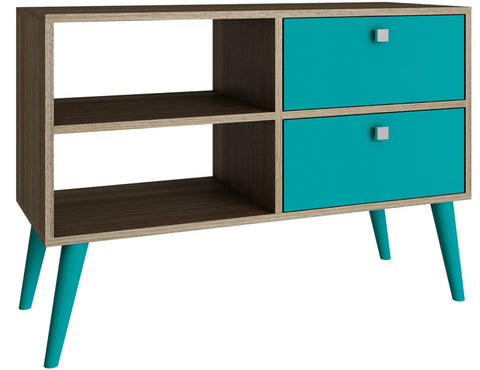 Accentuations by Manhattan Comfort Practical Dalarna TV Stand with 2 Open Shelves and 2- Drawers in Oak and Aqua - Peazz.com - 1