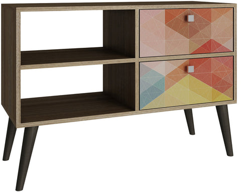 Accentuations by Manhattan Comfort Practical Dalarna TV Stand with 2 Open Shelves and 2- Drawers in Oak and Coloful Stamp Door - Peazz.com - 1