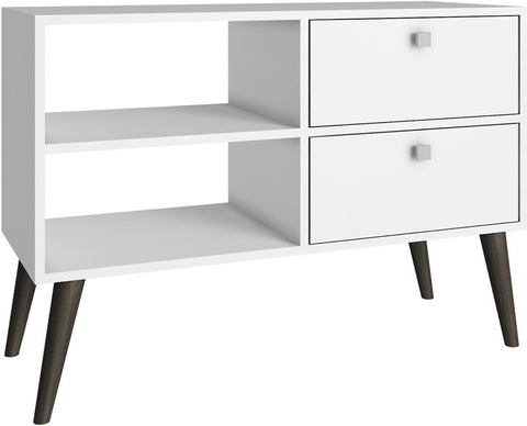 Accentuations by Manhattan Comfort Practical Dalarna TV Stand with 2 Open Shelves and 2- Drawers in White - Peazz.com - 1