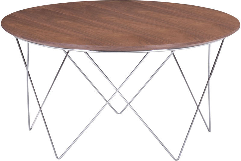 Zuo Modern 404070 Macho Coffee Table Color Walnut Chromed Steel Finish