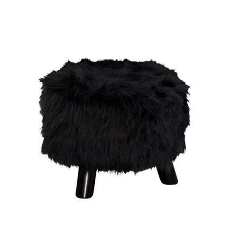 "Linon 40487BLK-01-AS-U Black Faux Fur Foot Stool (16"" Wide)"