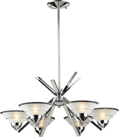 ELK Lighting Lighting 1475-6 Six Light Chandelier In Polished Chrome And Etched Clear Glass - Peazz.com - 1