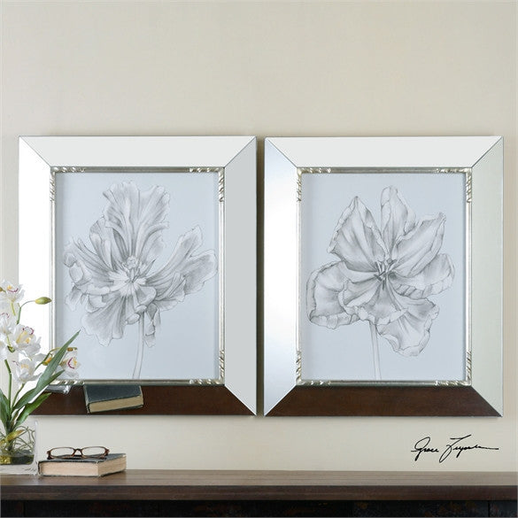 Uttermost Silvery Blue Tulips In Mirrored Frames, S/2 (41531)