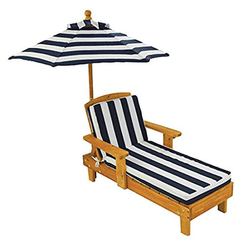 KidKraft 105 Outdoor Chaise With Umbrela & navy stripe fabric - Peazz.com