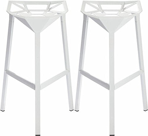 Mod Made MM-AR-02-WHITE Geometric Aluminum Barstool 2-Pack