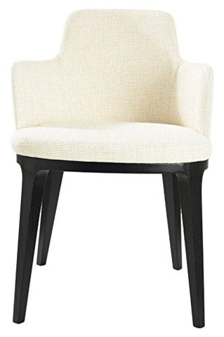 Mochi Furniture Contemporary Accent Armchair with Wooden Legs - White