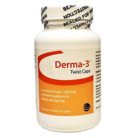 Derma-3 Twist Caps For Medium & Large Dogs, 60 Capsules - Peazz Pet