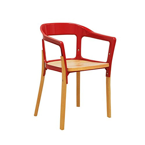 Mod Made MM-WS-009-RED Jasper Steel Wood Chair