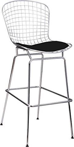 Mod Made MM-8033L-BLACK Chrome Wire Barstool