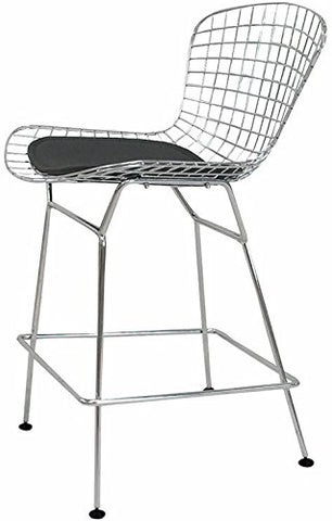 Mod Made MM-8033LS-BLACK Chrome Wire Counter Stool