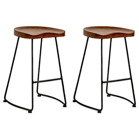 Mod Made MM-WS-034D-WALNUT Potter Wood Counter Stool Metal Leg 2-Pack