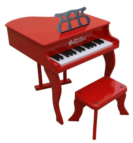 Schoenhut 30 Key Fancy Baby Grand Piano - Red 3005R - Peazz Toys