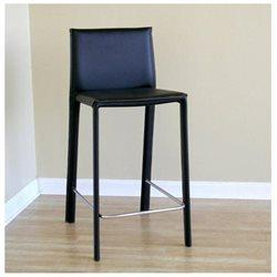 Wholesale Interiors ALC-1822A-65 Black Crawford Black Leather Counter Height Stool - Set of 2