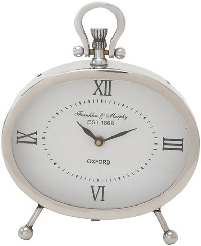"Bayden Hill Ssteel Oval Table Clock 8""W, 10""H - Peazz.com"