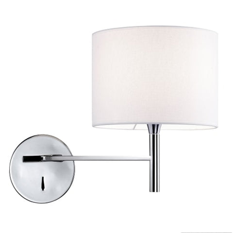 1Lt Incandescent Wall Sconce, PC w/ WH Shade