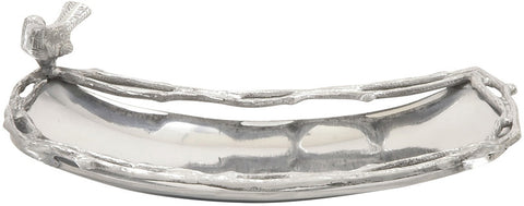 "Bayden Hill Alum Oval Bird Tray 12""W, 4""H - Peazz.com"