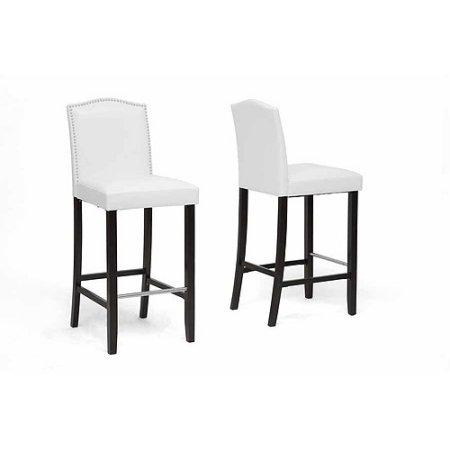 Wholesale Interiors BBT5111 Bar Stool-White Libra White Modern Bar Stool with Nail Head Trim - Set of 2