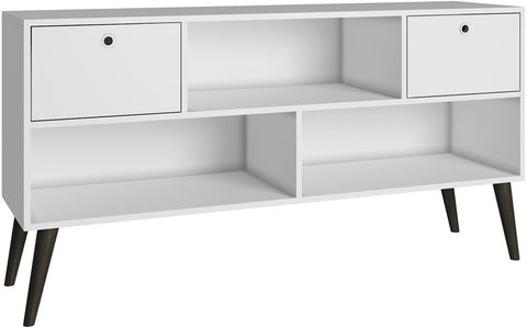 Accentuations by Manhattan Comfort Modern Uppsala TV Stand with 3- Shelves and 2- Drawers in White - Peazz.com - 1