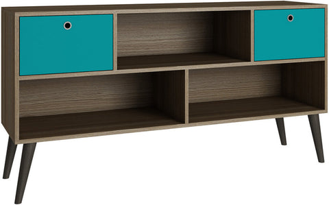 Accentuations by Manhattan Comfort Modern Uppsala TV Stand with 3- Shelves and 2- Drawers in Oak and Aqua - Peazz.com - 1