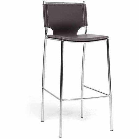 Wholesale Interiors ALC-1083A-75 Brown Montclare Brown Leather Modern Bar Stool - Set of 2