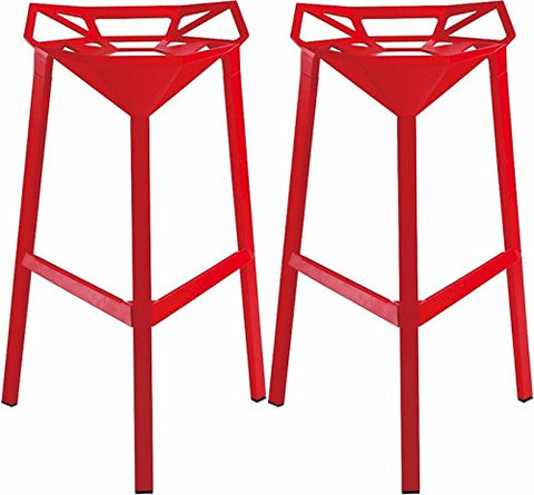 Mod Made MM-AR-02-RED Geometric Aluminum Barstool 2-Pack
