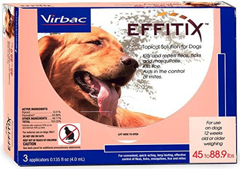 Virbac 18224 EFFITIX Topical Solution For Dogs 4588.9 lbs, 12 Month Supply - Peazz Pet
