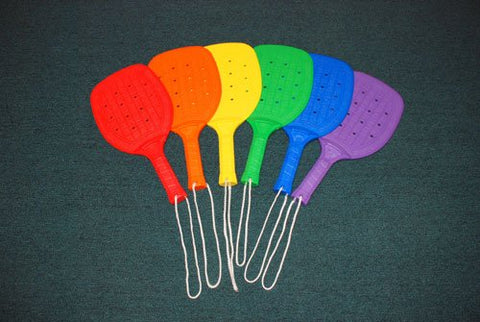 "Full Size Paddle Racket - set of 6 colors, 15"" L"