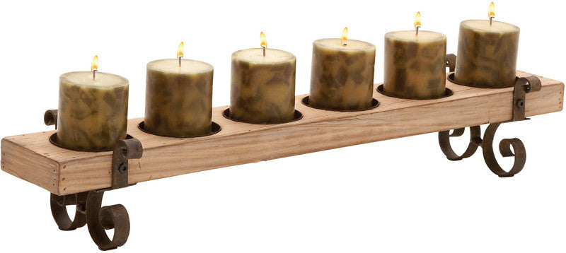 "Bayden Hill Wood Metal Candle Holder 28""W, 5""H"