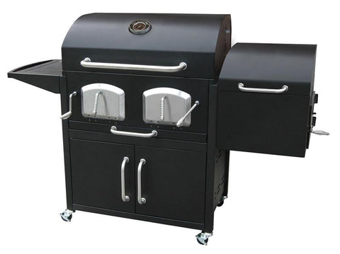 Bayden Hill 591320 Bravo Premium Charcoal Grill With Offset Smoker - Peazz.com - 1