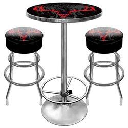 Hunt9800-Sk Hunt Skull Gameroom Combo - 2 Bar Stools And Table